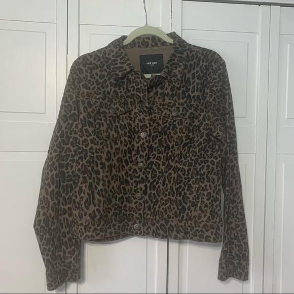 Nine West Cheetah Print denim jacket size large